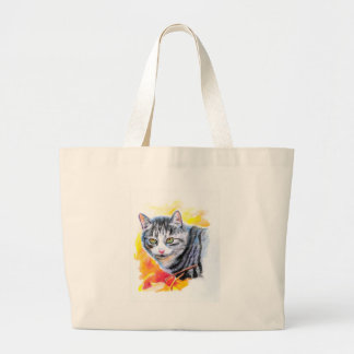Grey Striped Cat Large Tote Bag