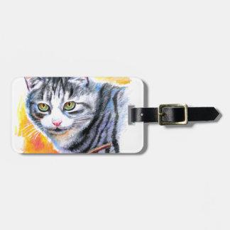 Grey Striped Cat Luggage Tag