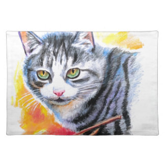 Grey Striped Cat Placemat
