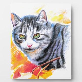 Grey Striped Cat Plaque
