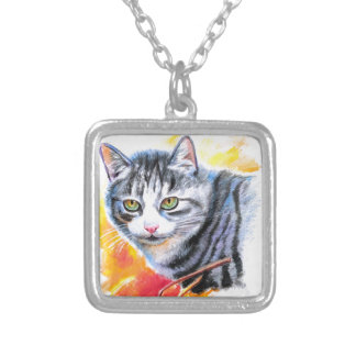 Grey Striped Cat Silver Plated Necklace