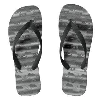 Grey Striped Elephant Pattern Flip Flops