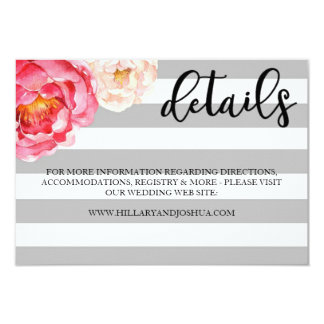 Grey Striped Floral Details Card