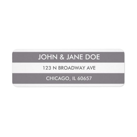 Grey striped return address label