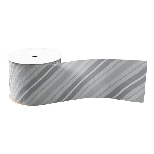 Grey Striped Ribbon Grosgrain Ribbon