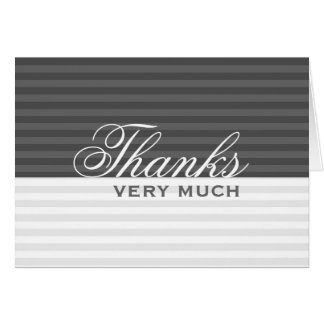 Grey Stripes : :  Black And White Thank You Cards
