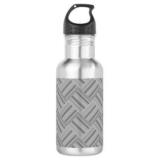 Grey stripes diagonal weave pattern 532 ml water bottle