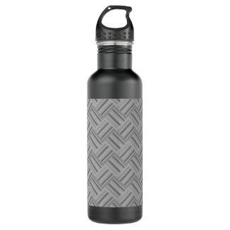 Grey stripes diagonal weave pattern 710 ml water bottle