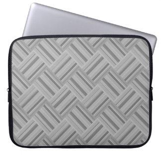 Grey stripes diagonal weave pattern laptop sleeve