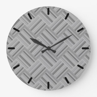 Grey stripes diagonal weave pattern large clock