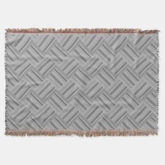 Grey stripes diagonal weave pattern throw blanket