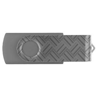 Grey stripes diagonal weave pattern USB flash drive