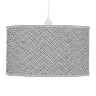 Grey stripes double weave pattern hanging pendant lamp