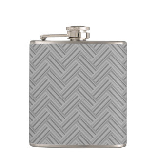 Grey stripes double weave pattern hip flask