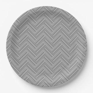 Grey stripes double weave pattern paper plate