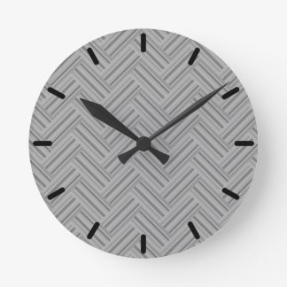 Grey stripes double weave pattern round clock
