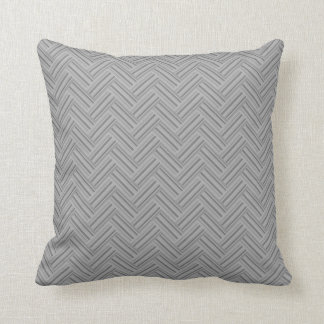 Grey stripes double weave pattern throw pillow