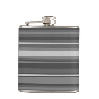 Grey stripes hip flask