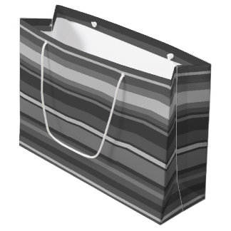 Grey stripes large gift bag