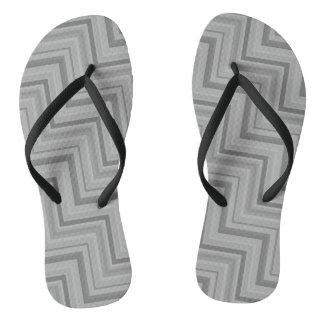 Grey stripes stairs pattern flip flops