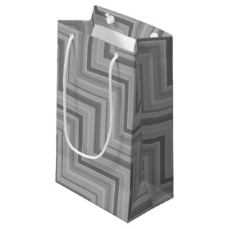 Grey stripes stairs pattern small gift bag