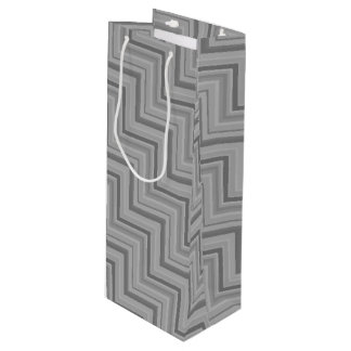 Grey stripes stairs pattern wine gift bag