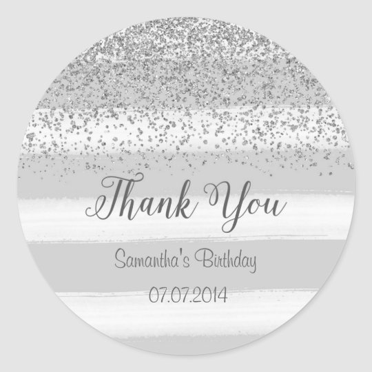 Grey Stripes Thank You Birthday Sticker