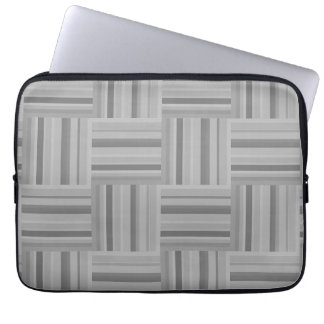 Grey stripes weave pattern laptop sleeve