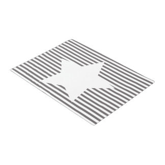 Grey Stripes & White Star - Door Mat