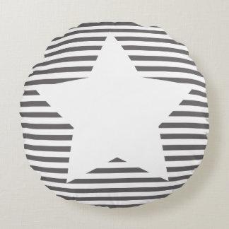 Grey Stripes & White Star - Round Pillow