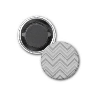 Grey stripes zigzag pattern 1 inch round magnet