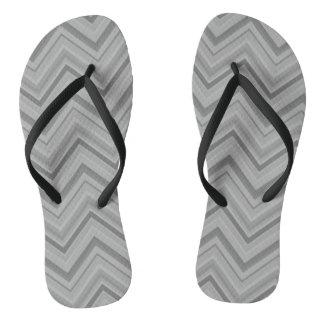 Grey stripes zigzag pattern flip flops