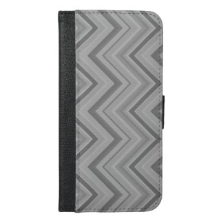 Grey stripes zigzag pattern iPhone 6/6s plus wallet case