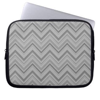 Grey stripes zigzag pattern laptop sleeve