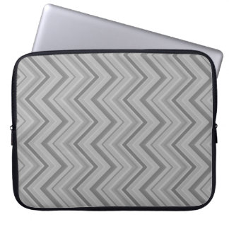 Grey stripes zigzag pattern laptop sleeve