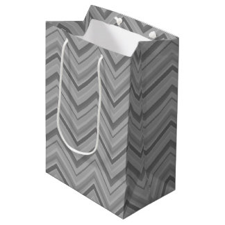 Grey stripes zigzag pattern medium gift bag