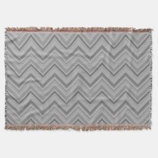 Grey stripes zigzag pattern throw blanket