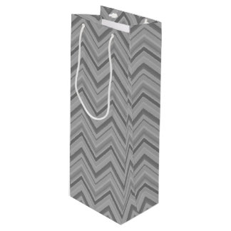 Grey stripes zigzag pattern wine gift bag