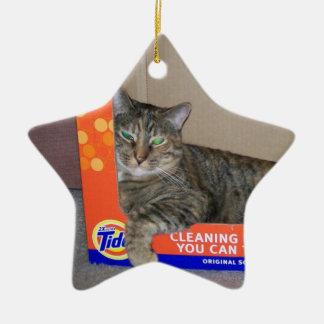 Grey Tabby Kitty Ceramic Star Ornament