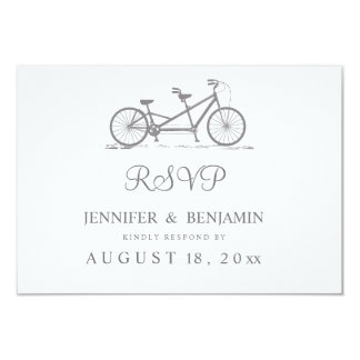 Grey Tandem Bike | Modern Wedding RSVP Card