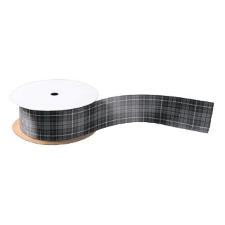 Grey Tartan Satin Ribbon