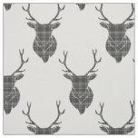 Grey Tartan Stag Head Antler Rustic Pattern Fabric