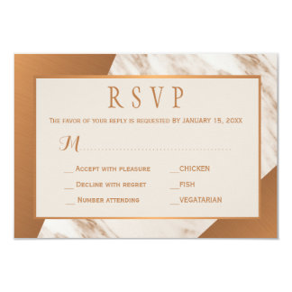 Grey taupe marble copper metallic wedding rsvp card