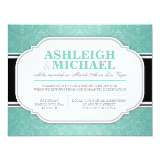 "Grey & Teal Damask Wedding Reception ONLY 4.25"" X 5.5"" Invitation Card"
