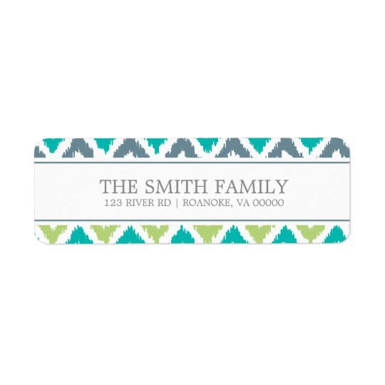 Grey Teal Green Zigzag Tribal Pattern Return Address Label