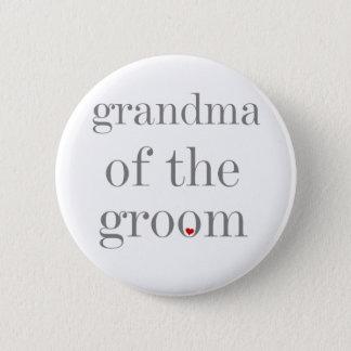 Grey Text Grandma of Groom 2 Inch Round Button