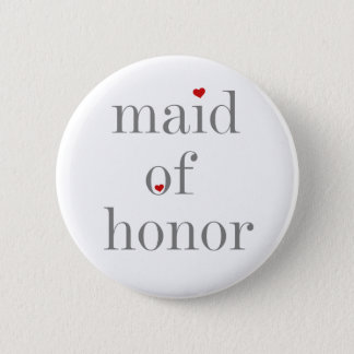 Grey Text Maid of Honour 2 Inch Round Button