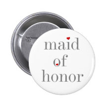 Grey Text Maid of Honour Buttons