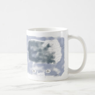 grey thought cloud with cat coffee mugs