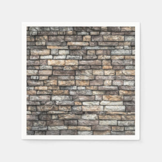 Grey tiles brick wall paper napkins